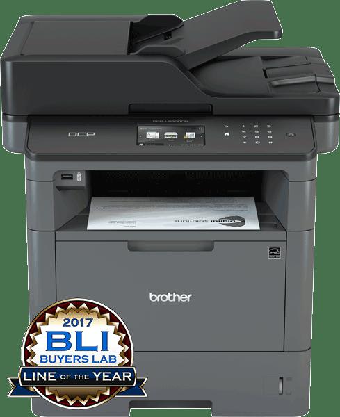 Brother DCPL5500DN multifunksjon sort-hvitt laserskriver utskrift og BLI Award logo front