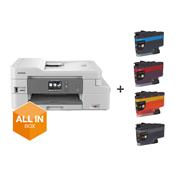 DCP-J1100DW Drucker in der Frontansicht, mit All in Box Logo und Verbrauchsmaterial