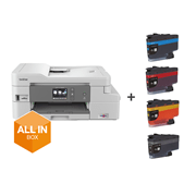 DCP-J1100DW printer from the front, with all in box logo and cartoon sitting on top