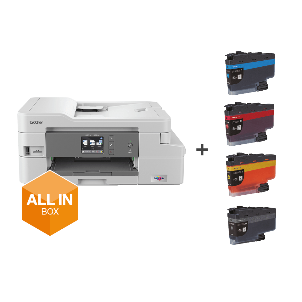 DCP-J1100DW printer from the front, with all in box logo and supplies