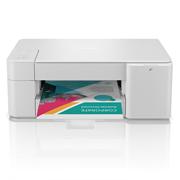 Brother DCPJ1200W mobilstyrt multifunksjon farge blekkskriver med et fargerikt dokument front
