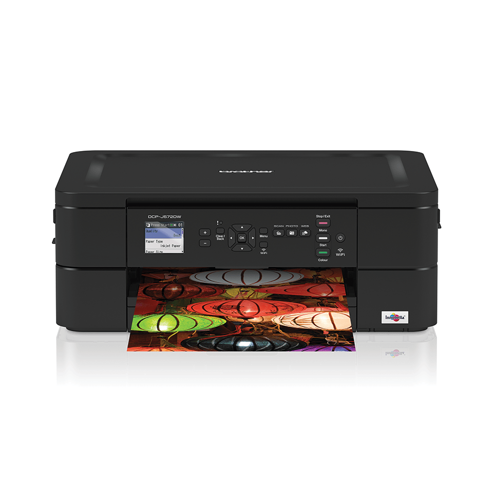 DCP-J572DW from the front with output printing