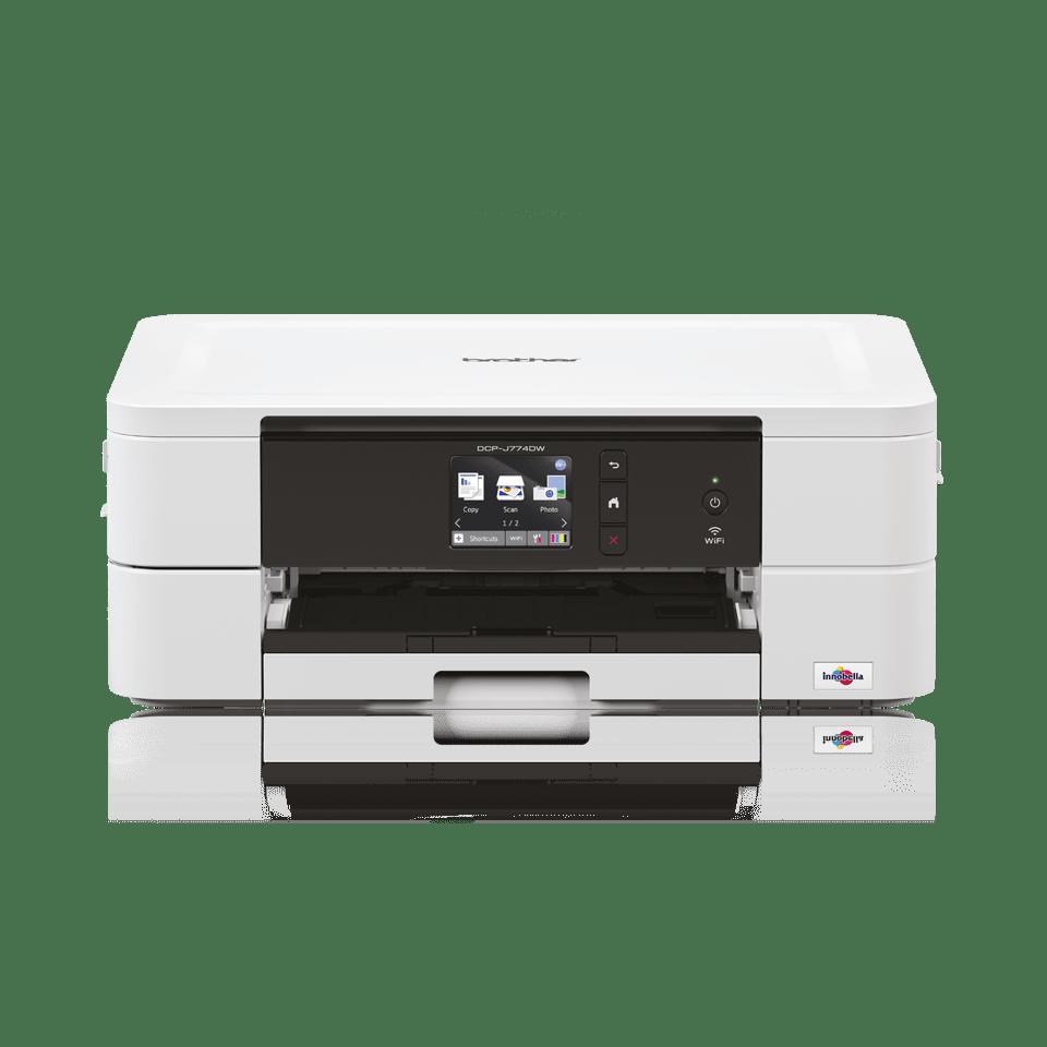 White inkjet printer facing straight ahead - DCPJ774DW