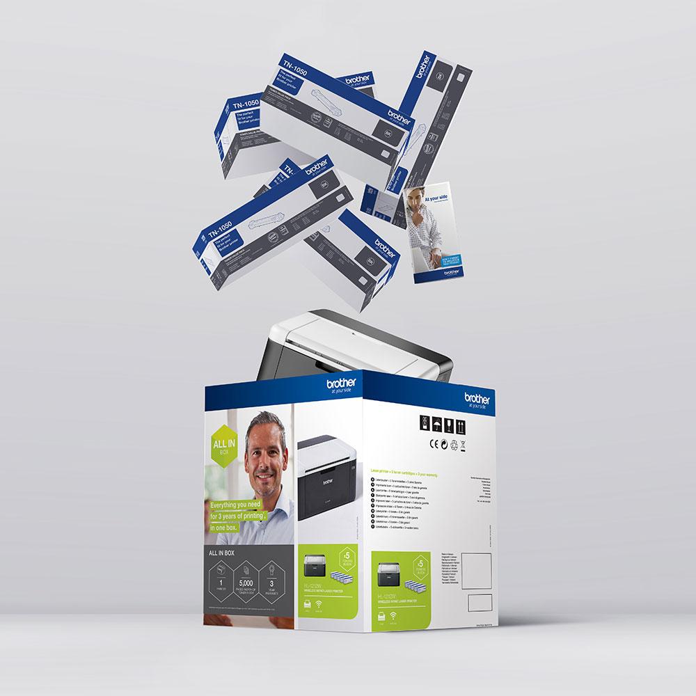 Draadloze zwart-witlaserprinter HL-1212W All-in-Box bundel 9