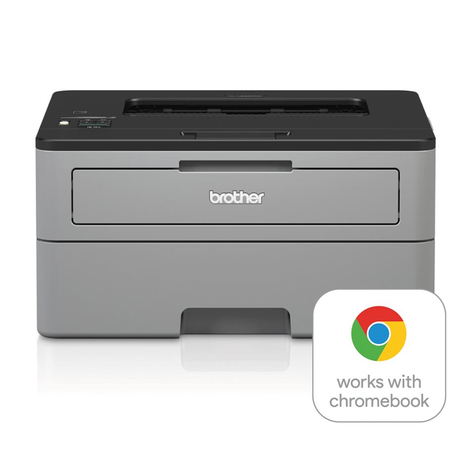 Compact mono laser printer facing front with WWCB logo