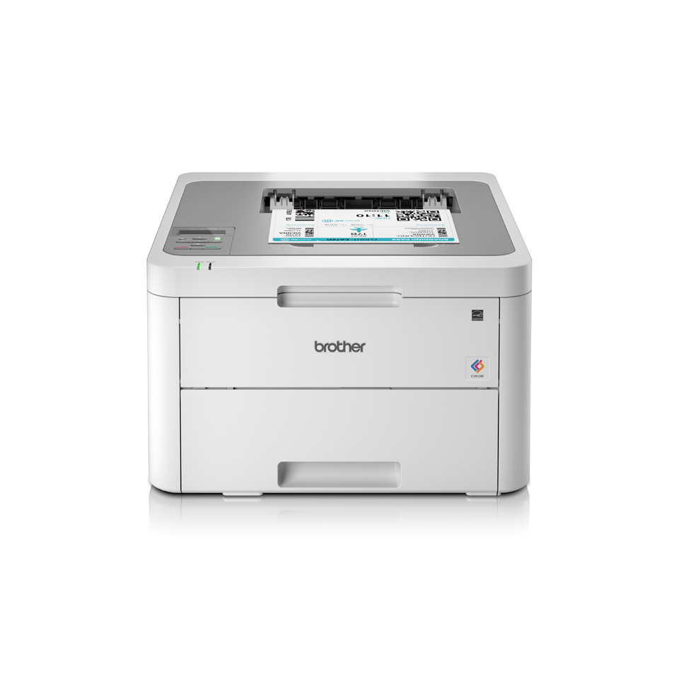 HL-L3210CW colour LED wireless printer front facing with paper