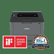 Brother HLL5200DW sort-hvitt laserskriver med iF design og BLI award logo