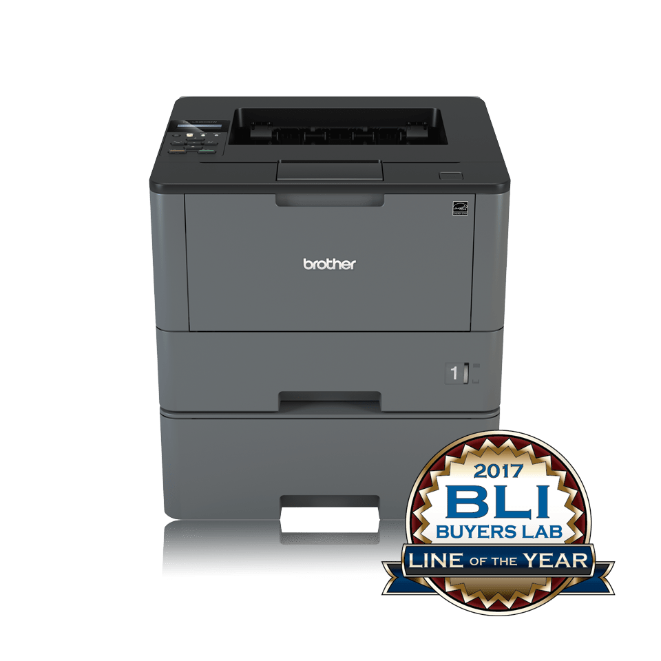 Brother HLL5200DWT sort-hvitt laserskriver front med BLI logo
