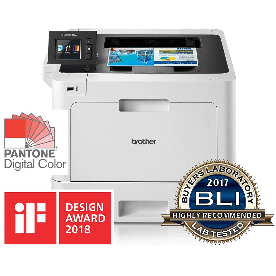 HL-L8360CDW front view and reflection with BLI award logo, IF Design award 2018, Pantone logo
