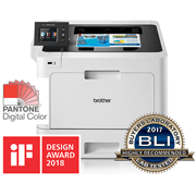 HL-L8360CDW front view and reflection with BLI award logo, IF Design award 2018, Pantone logo