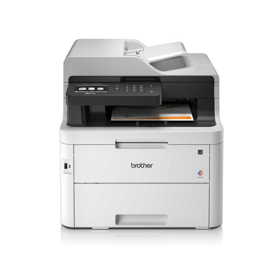 MFCL3750CDW colour LED wireless printers front facing with paper