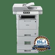 Brother MFCL6800DWT multifunkjson sort-hvitt laserskriver front med BLI award logo