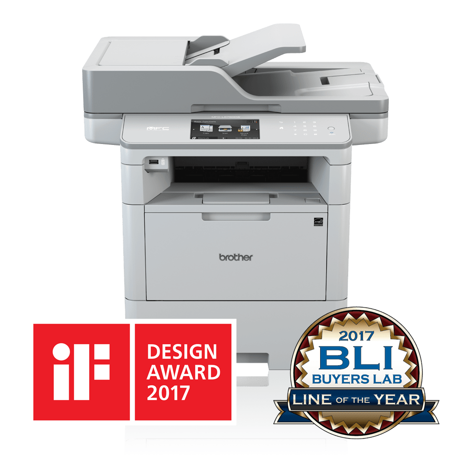 MFCL6900DW front view with iF and BLI logos
