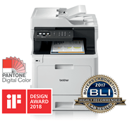 MFC-L8690CDW multifonctions laser with Bli logo, IF Design award logo. Pantone logo