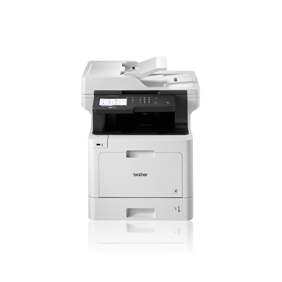 Brother business colour laser MFCL8900CDWLT facing front with additional paper tray with BLI Pick, IF Design 2018 logo, Pantone logo