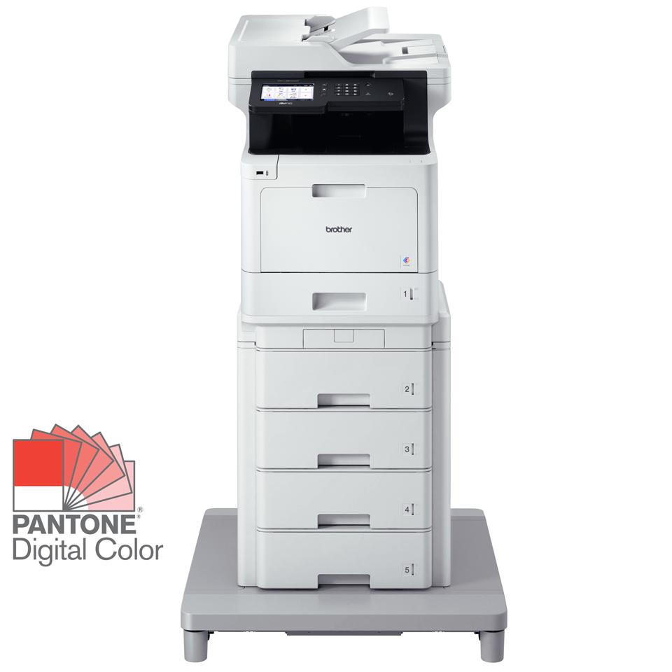 Brother MFCL8900CDWMT multifunksjon farge laserskriver med 4 x 520 arks ekstra papirmagasin og stabiliseringsenhet