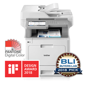 MFC-L9570CDW multifunction colour laser printer for SMBs with BLI, IF Design 2018 award, Pantone logo