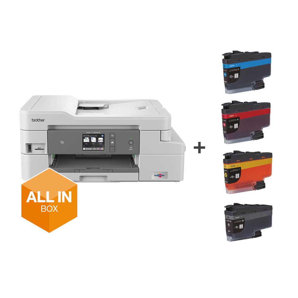 """Belaidis """"4-in-1"""" spalvotas rašalinis spausdintuvas MFC-J1300DW """"Viskas dėžėje"""" rinkinys 7"""