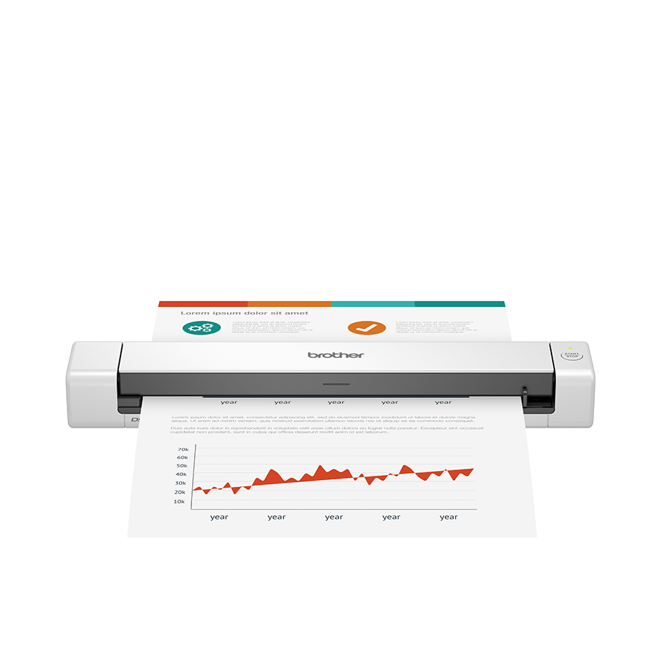 Brother DSmobile DS-640 mobile scanner facing forward with document