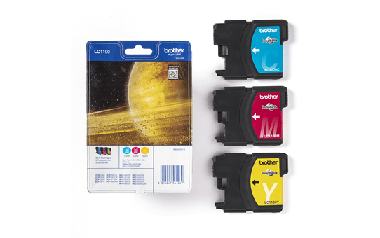 Genuine Brother LC1100RBWBP Ink Cartridge Rainbow Blister Pack 3
