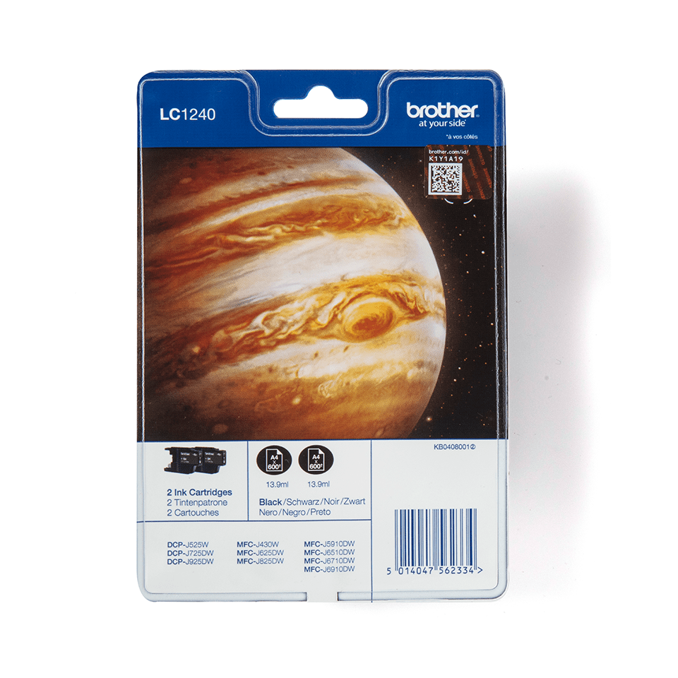 LC1240BKBP2 Brother genuine ink cartridge multi pack front image