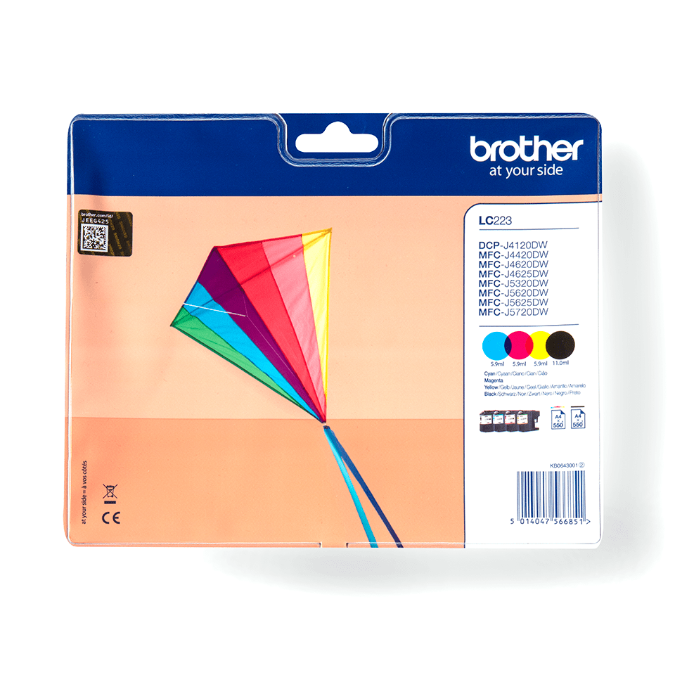 LC223VALBP Brother genuine ink cartridge multi pack front image