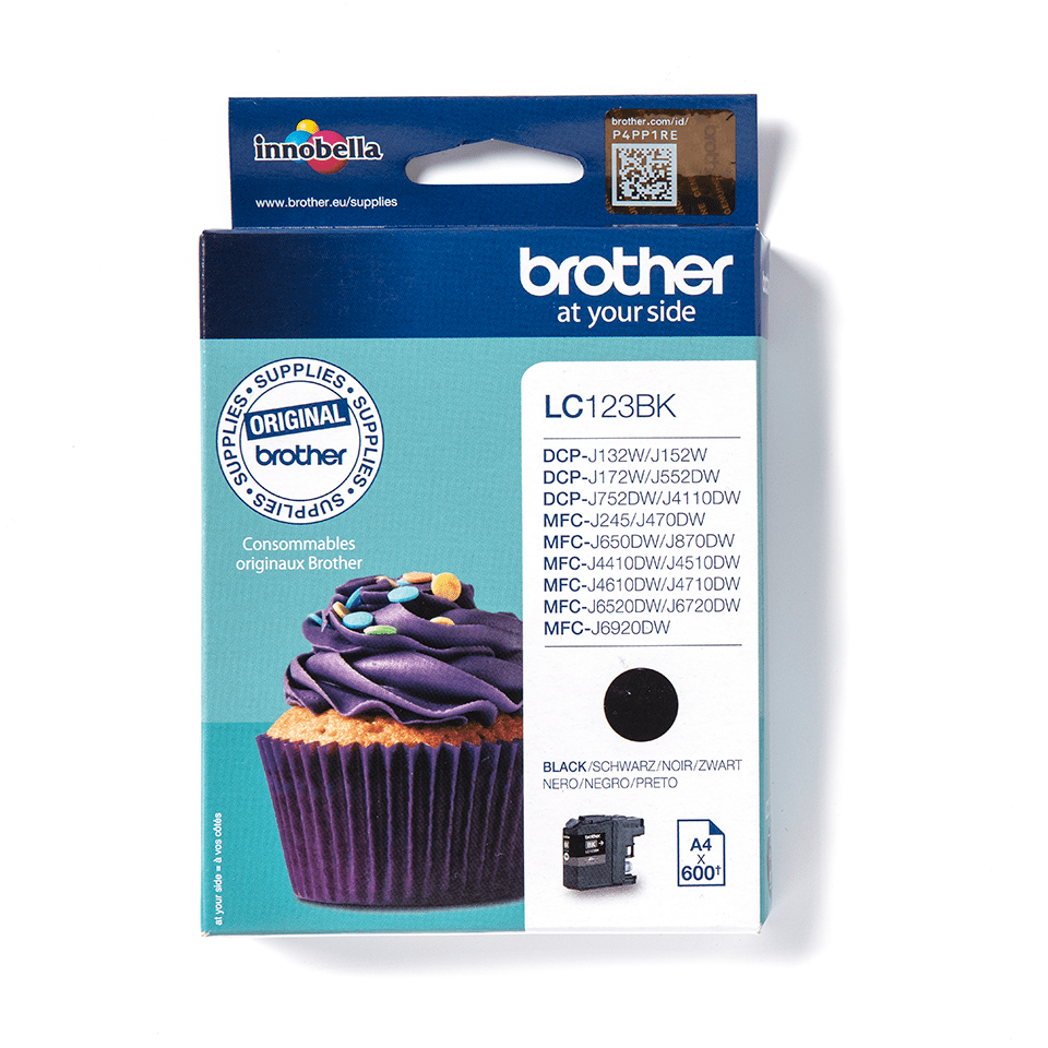LC123BK Brother genuine ink cartridge pack front image