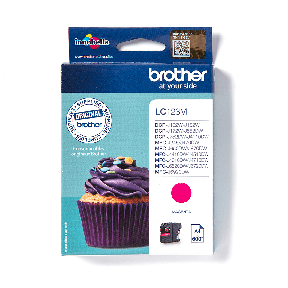 LC123M Brother genuine ink cartridge pack front image