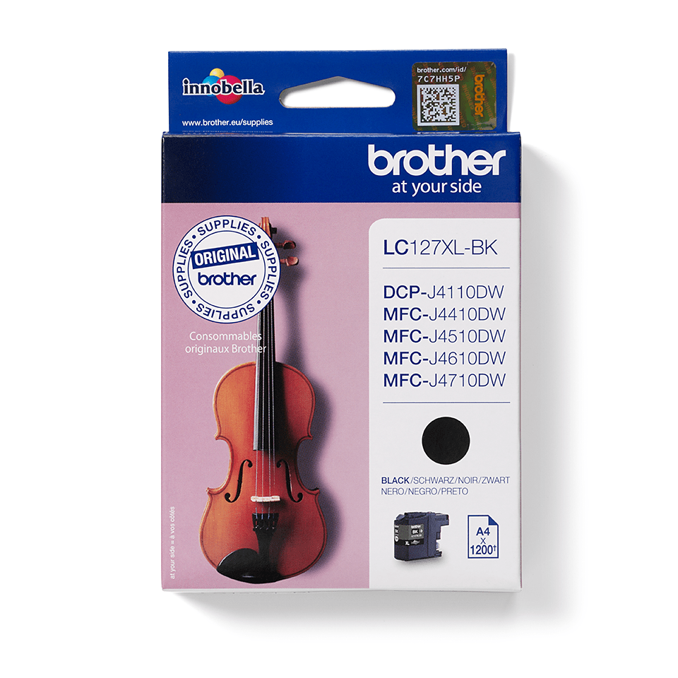 Original Brother LC127XLBK stor blækpatron – sort