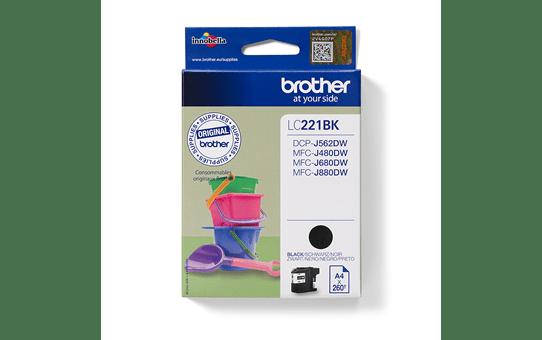 Brotherin alkuperäinen LC221BK-värikasetti – Musta