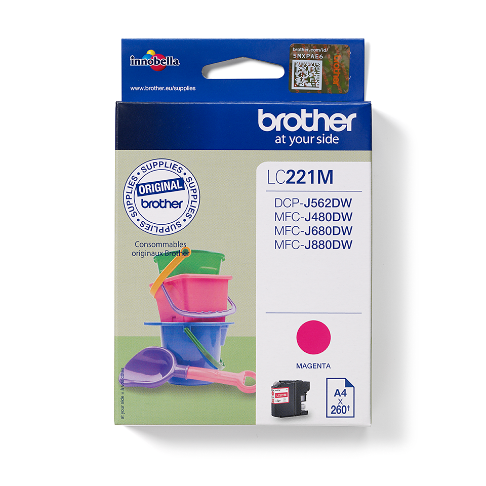 Brother LC221M magenta blekkpatron i forpakning front