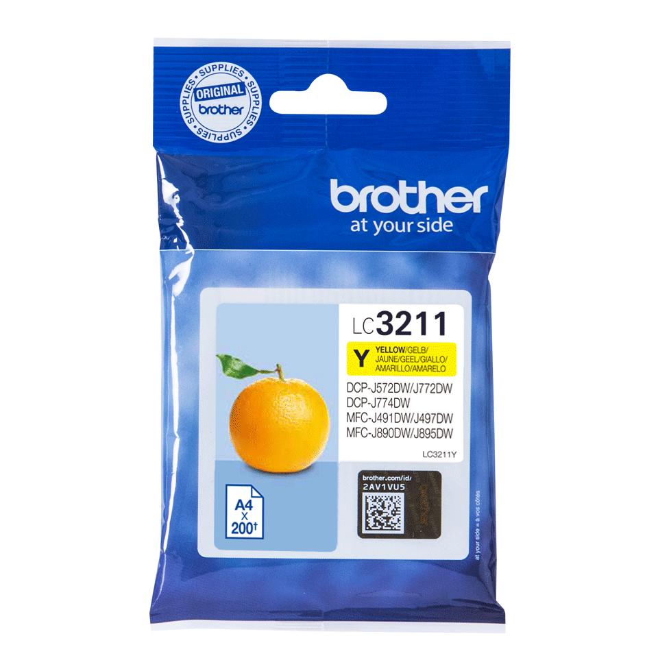 Original Brother LC3211Y gul blækpatron