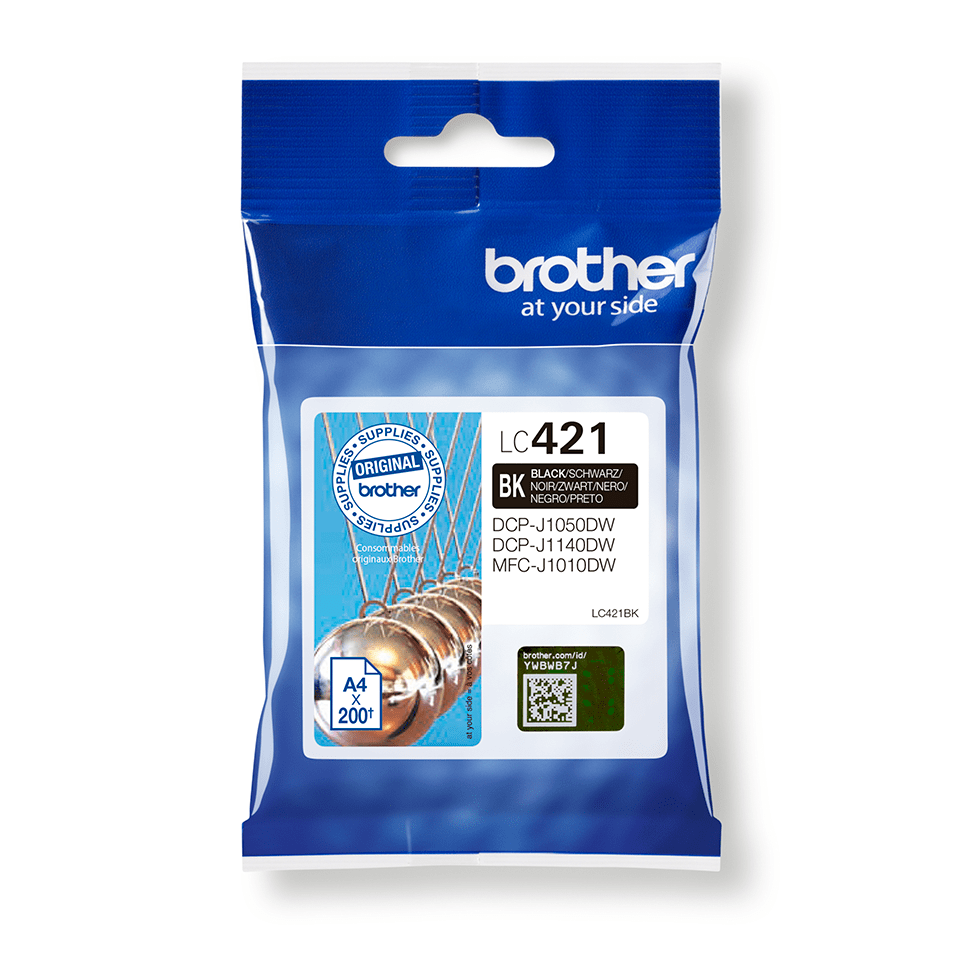 Brother LC421BK sort blekkpatron i emballasje