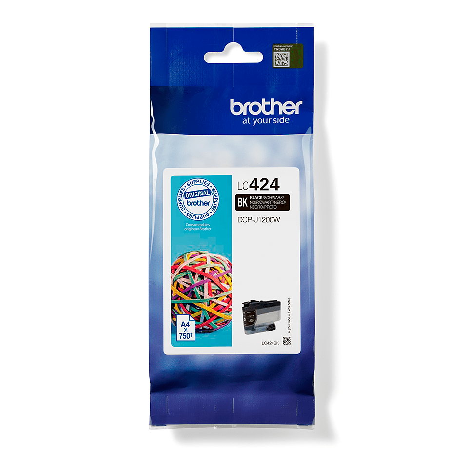 LC424BK-värikasetti pakkauksessa