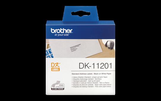 Brother original DK11201 standard adresseetikett i fast format - sort på hvit, 29 mm x 90 mm