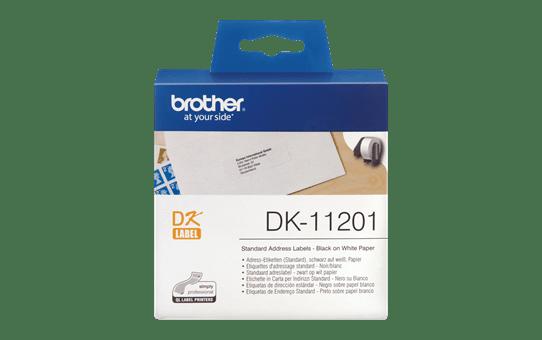 Brother DK11201: оригинальный рулон для печати наклеек черным на белом фоне, 29 мм х 90 мм.