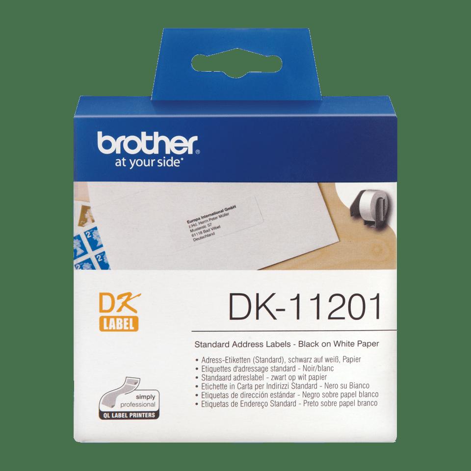 Oriģināla Brother DK-11201 uzlīmju lenta – melnas drukas, balta 29mm x 90mm