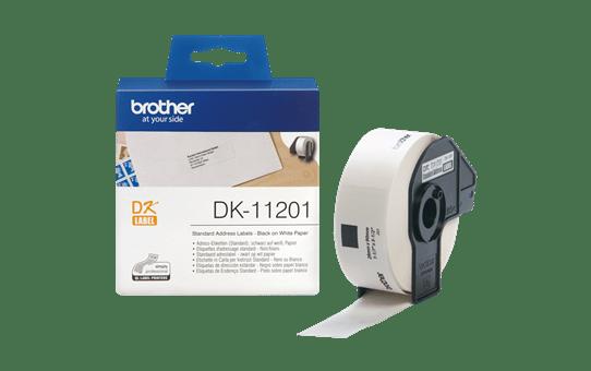 Brother original DK11201 standard adresseetikett i fast format - sort på hvit, 29 mm x 90 mm 3