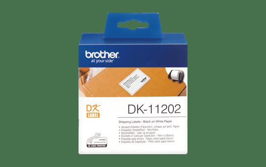 Original Brother DK-11202 rulle med fragtlabels – sort på hvid, 62 mm x 100 mm