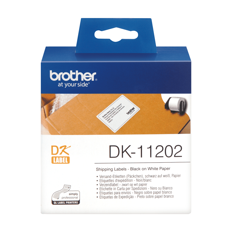 Genuine Brother DK-11202 Label Roll – Black on White, 62mm x 100mm