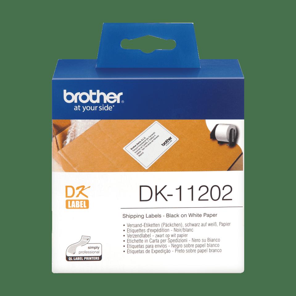 Oriģināls Brother DK-11202 uzlīmju lentas rullis – melnas drukas, balta, 62mm x 100mm