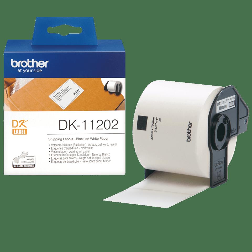 Oriģināls Brother DK-11202 uzlīmju lentas rullis – melnas drukas, balta, 62mm x 100mm 3