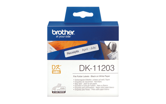 Original Brother DK11203 label til arkivmapper– sort på hvid, 17 mm x 87 mm