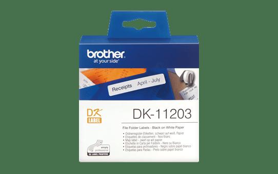 Brother DK11203: оригинальная кассета с лентой для печати наклеек черным на белом фоне, 17 мм х 87 мм.