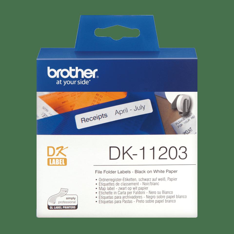 Brother original DK11203, etikettrulle, svart på vit, 17 mm x 87 mm