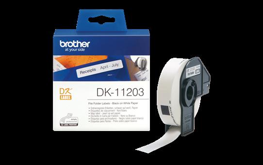 Oriģināls Brother DK-11203 melnas drukas, balts marķēšanas lentes rullis, 17mm x 87mm 3