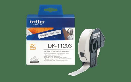 Brother DK-11203 juodų raidžių baltame fone etikečių ritinėlis – 17 mm x 87 mm 3