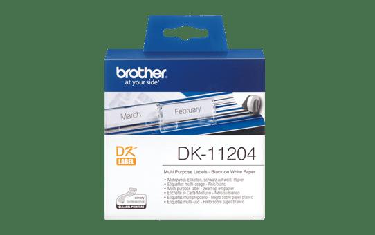 Original Brother DK11204 universaletikett – sort på hvit, 17 mm x 54 mm