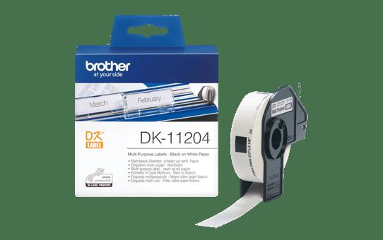 Brother DK11204: оригинальная лента для печати наклеек черным на белом фоне, 17 мм х 54 мм. 3