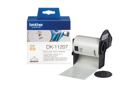 Rotolo di etichette di pellicola per CD/DVD originale Brother DK-11207 – Nero su bianco, 58 mm di diametro 3